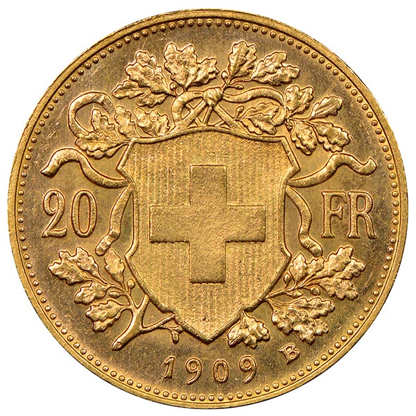 Swiss 20 Franc - .1867 Oz Gold, 90% Pure thumbnail