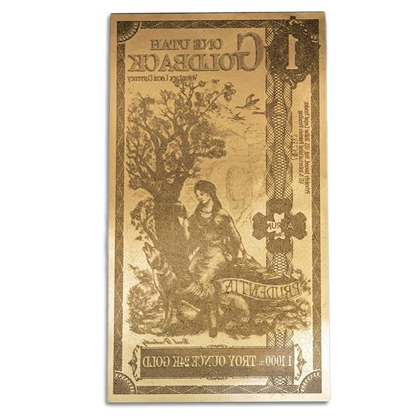 1 Utah Goldback - Prudentiae, 1/1000th Troy Oz .9999 Gold-Backed Bill thumbnail