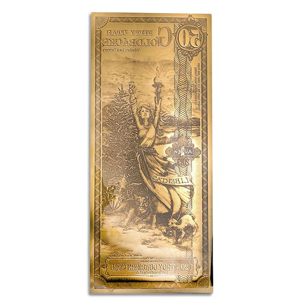 50 Utah Goldback - Libertas, 1/20th Troy Oz .9999 Gold-Backed Bill thumbnail