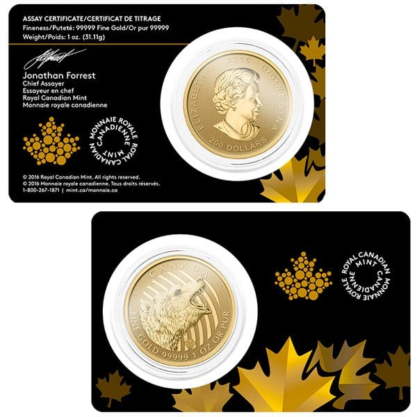 Canadian Roaring Grizzly  - 1 Troy Oz. .99999 Pure Gold thumbnail