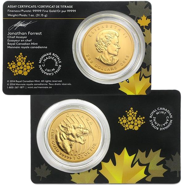 Canadian Growling Cougar - 1 Troy Oz .99999 Pure Gold thumbnail