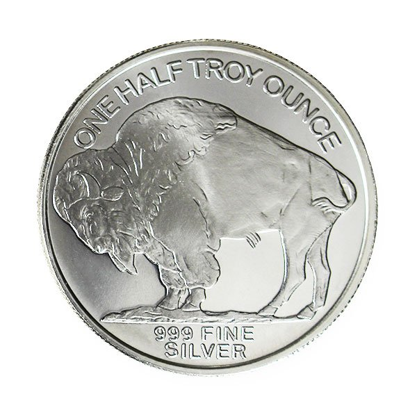 1/2 Troy Ounce Buffalo SILVER Round, .999 Pure thumbnail