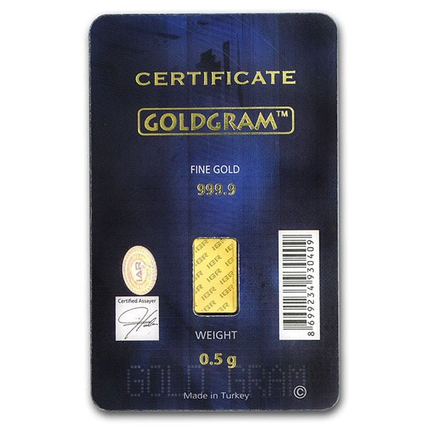Gold Bar, 1/2 Gram .9999 Pure in Assay Package thumbnail