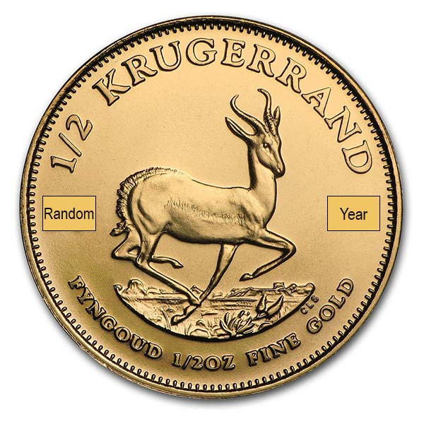 1/2 Oz Gold Krugerrand from South Africa, 22k