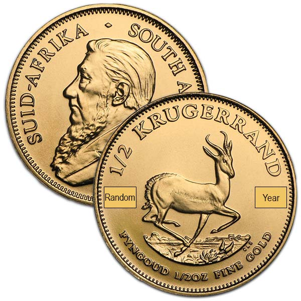 1/2 Oz Gold Krugerrand from South Africa, 22k thumbnail