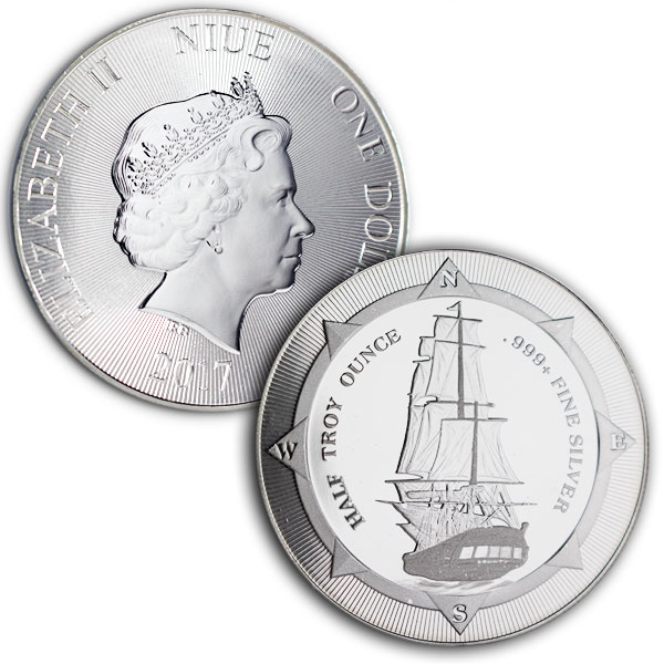New Zealand Mint's HMS Bounty - HALF Oz Silver Coin thumbnail