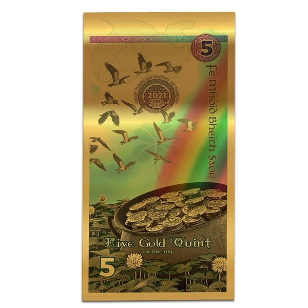 Ireland Kingdom of Breifne Goldback - 5 iQuint Gold Note, 1/200th Oz 24k Gold thumbnail