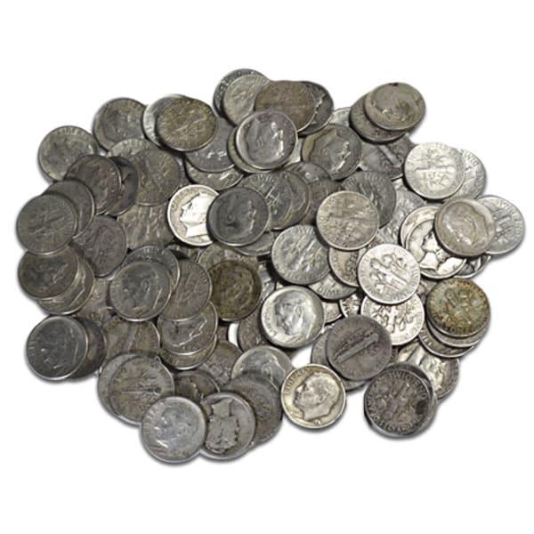 90% Silver Quarters or Silver Dimes; Pre-1965 Junk Silver Coins thumbnail