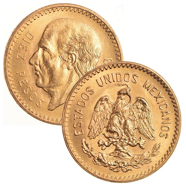 Mexican 10 Peso Gold Coin, .2411 Ounces Gold Content thumbnail