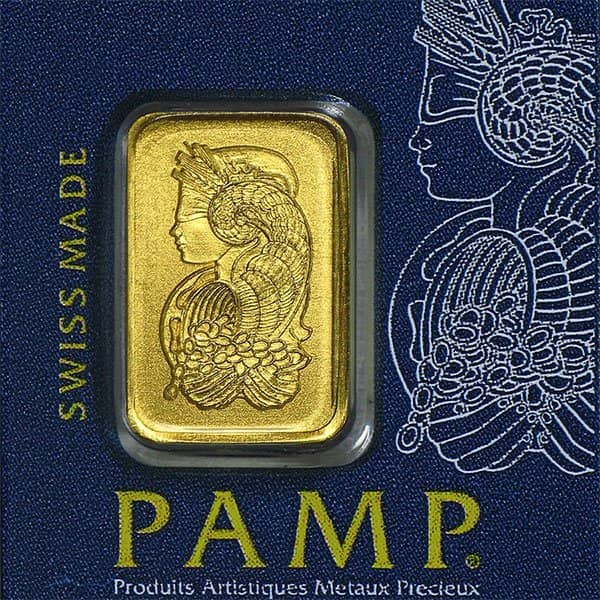PAMP Multigram+25 Gold Bars - Qty 25 1g Bars .9999 Pure thumbnail