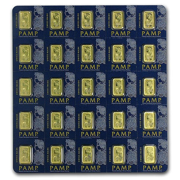 PAMP Multigram+25 Gold Bars - Qty 25 1g Bars .9999 Pure