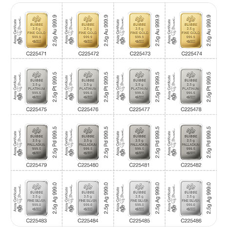 Multigram Portfolio - Qty 16 2.5 Gram Bars, 4 Ea in Gold, Silver, Platinum & Palladium thumbnail