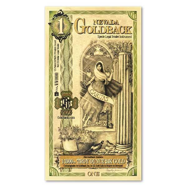 1 Nevada Goldback - Caritas, 1/1000th Troy Oz 24k Gold Bullion