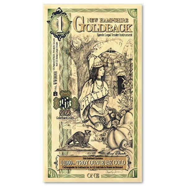 1 New Hampshire Goldback - Gratia, 1/1000th Troy Oz .9999 Gold-Backed Bill thumbnail