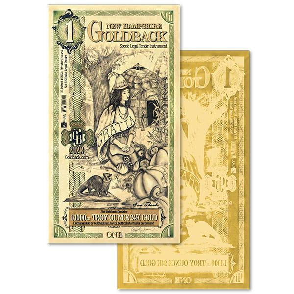 1 New Hampshire Goldback - Gratia, 1/1000th Troy Oz .9999 Gold-Backed Bill
