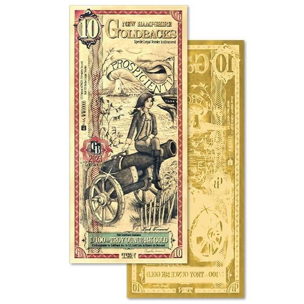 10 New Hampshire Goldback - Prospicientia, 1/100th Troy Oz .9999 Gold-Backed Bill