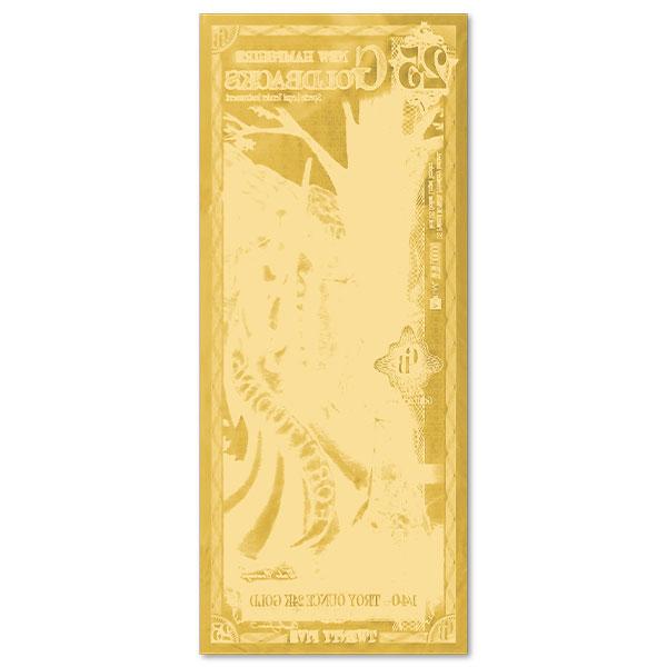 25 New Hampshire Goldback - Fortitudine, 1/40th Troy Oz .9999 Gold-Backed Bill thumbnail