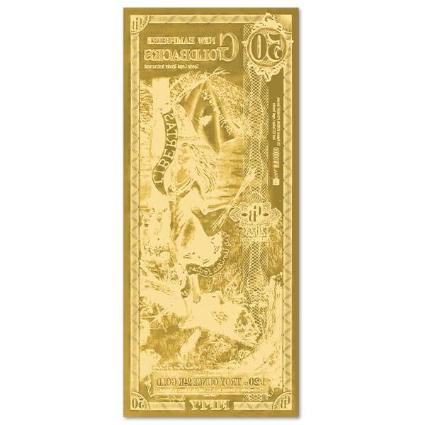 50 New Hampshire Goldback - Libertas, 1/20th Troy Oz .9999 Gold-Backed Bill thumbnail