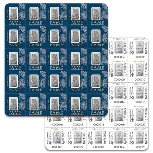 Multigram+25 Platinum - Qty 25 1 Gram Platinum Bars thumbnail
