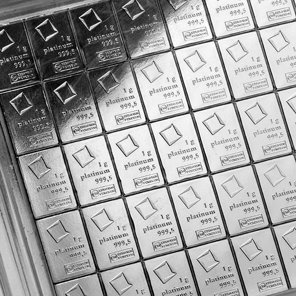 Platinum Valcambi CombiBar - 50 x 1 Gram .9995 (1.608 troy Oz) thumbnail