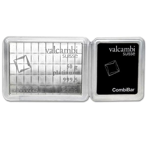 Platinum Valcambi CombiBar - 50 x 1 Gram .9995 (1.608 troy Oz)