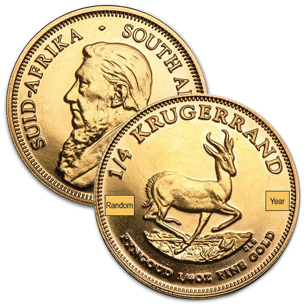 1/4 Oz South African Krugerrand Gold Coin  (22k Purity) thumbnail