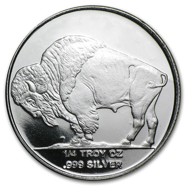 1/4 Ounce Buffalo SILVER Round, .999 Pure thumbnail