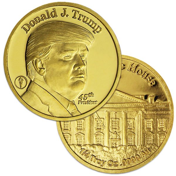 1/4 oz Donald Trump Gold Rounds, .9999 Pure thumbnail