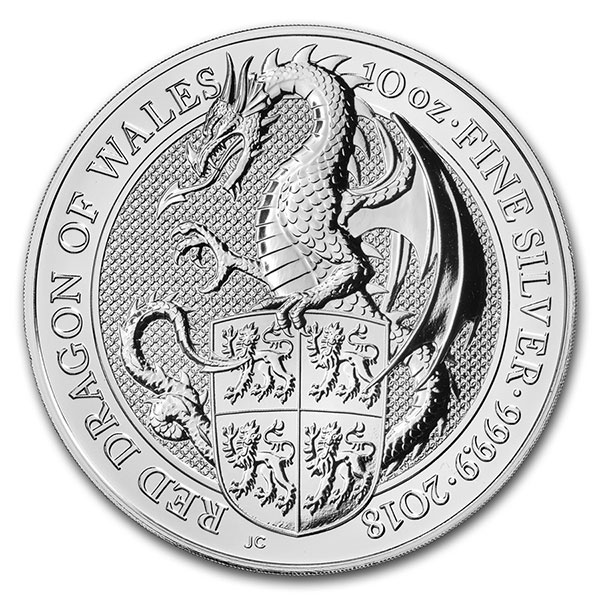 British Royal Mint Queen's Beast; Dragon - 10 Oz Silver Coin .9999 Pure