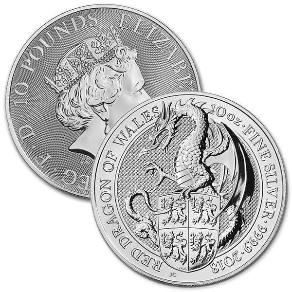 British Royal Mint Queen's Beast; Dragon - 10 Oz Silver Coin .9999 Pure thumbnail