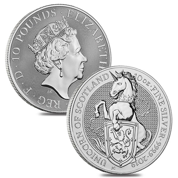 British Royal Mint Queen's Beast; Unicorn - 10 Oz Silver Coin .9999 Pure thumbnail