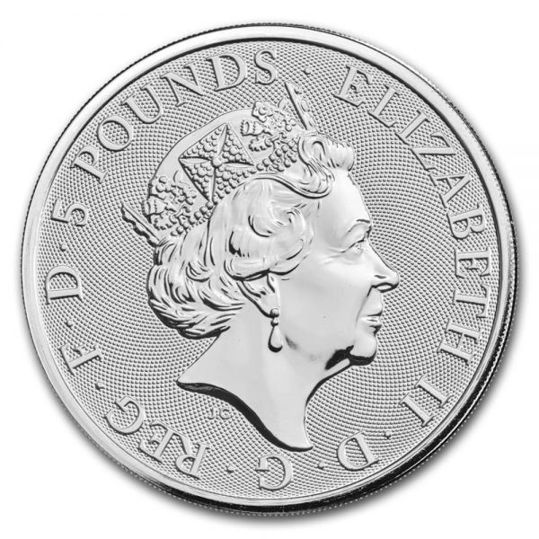 British Royal Mint Queen's Beast; Black Bull - 2 Oz Silver Coin .9999 Pure thumbnail