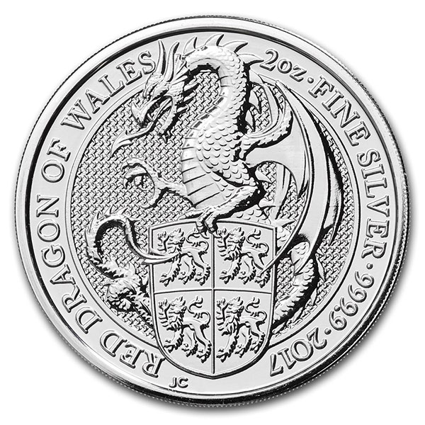 British Royal Mint Queen's Beast; Dragon - 2 Oz Silver Coin .9999 Pure thumbnail