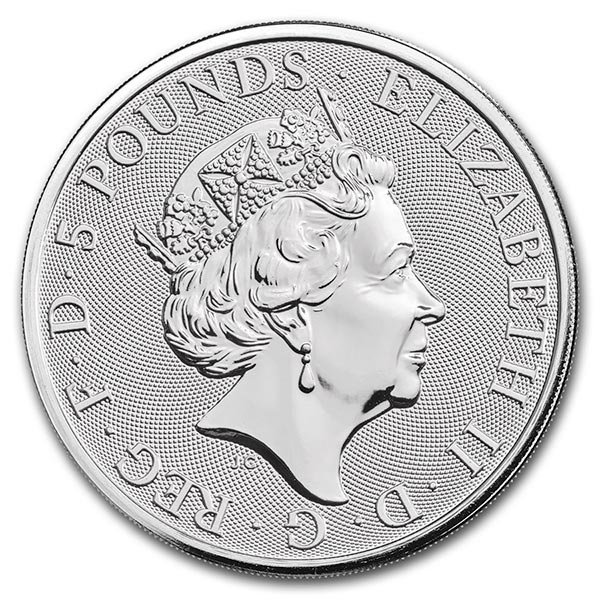 British Royal Mint Queen's Beast; Falcon - 2 Oz Silver Coin .9999 Pure thumbnail