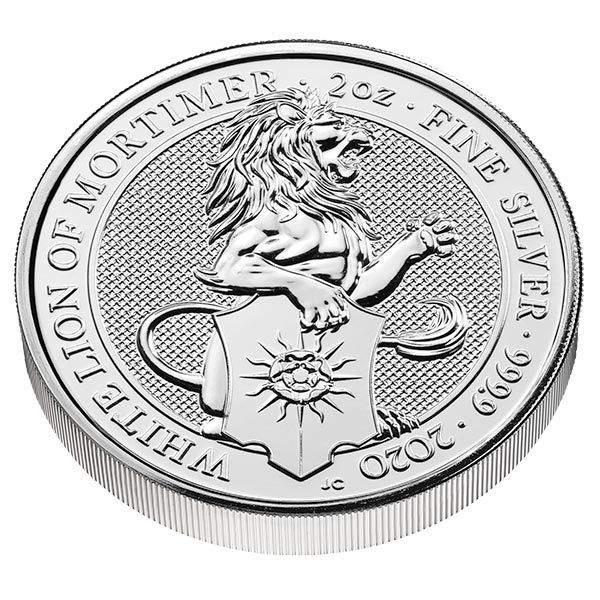 British Royal Mint Queen's Beast; White Lion - 2 Oz Silver Coin .9999 Pure thumbnail