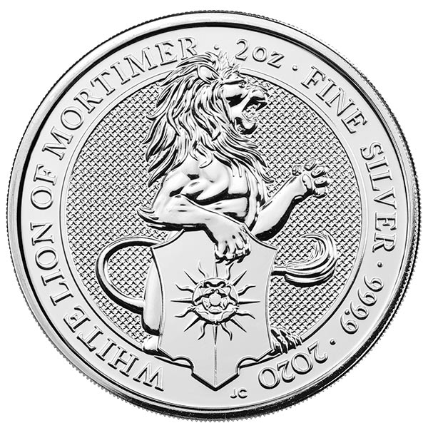 British Royal Mint Queen's Beast; White Lion - 2 Oz Silver Coin .9999 Pure
