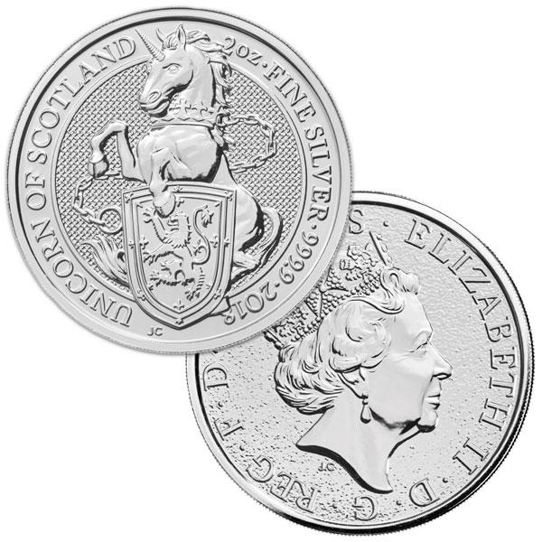 British Royal Mint Queen's Beast; Unicorn - 2 Oz Silver Coin .9999 Pure thumbnail