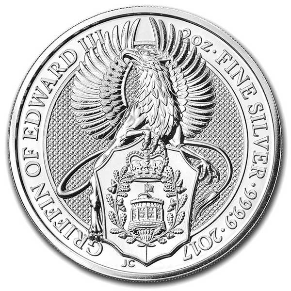 British Royal Mint Queen's Beast; Griffin - 2 Oz Silver Coins .9999 Pure thumbnail