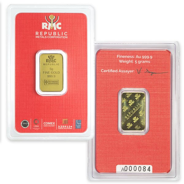 5 Gram Gold Bars, .9999 Pure thumbnail