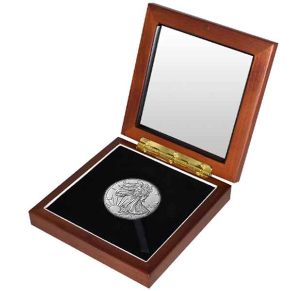 Silver American Eagle in Wooden Display Box - 1 Oz .999 Pure thumbnail
