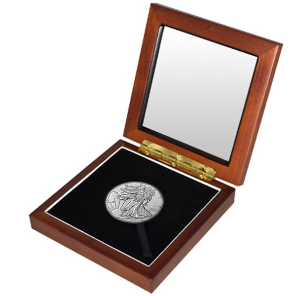 Silver American Eagle in Wooden Display Box - 1 Oz .999 Pure