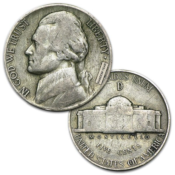 War Nickels - 35% Silver (1.125 Oz of Silver for Every $1 Face Value)