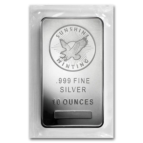 10 Oz Sunshine Mint Silver Bar, .999 Pure thumbnail