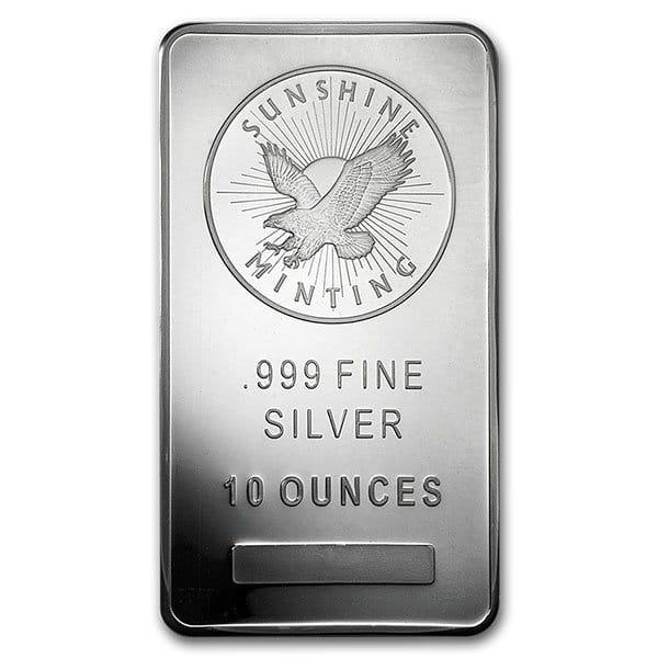 10 Oz Sunshine Mint Silver Bar, .999 Pure