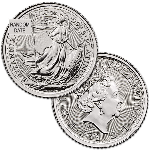Royal Mint Platinum Britannia - 1/10th Oz Coin .9995 Pure thumbnail
