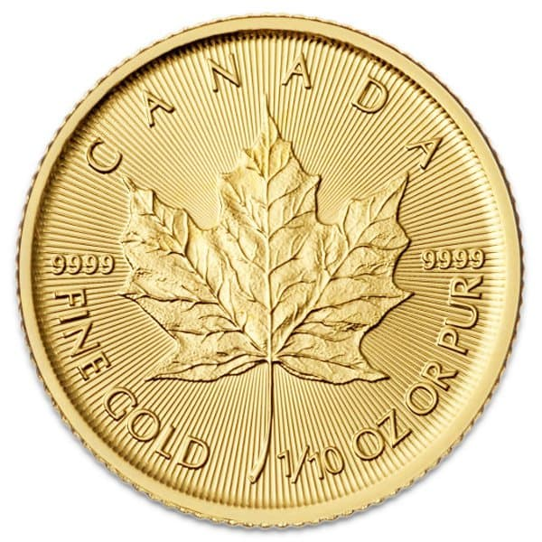 1/10 Oz Canadian Maple Leaf Gold Coin thumbnail