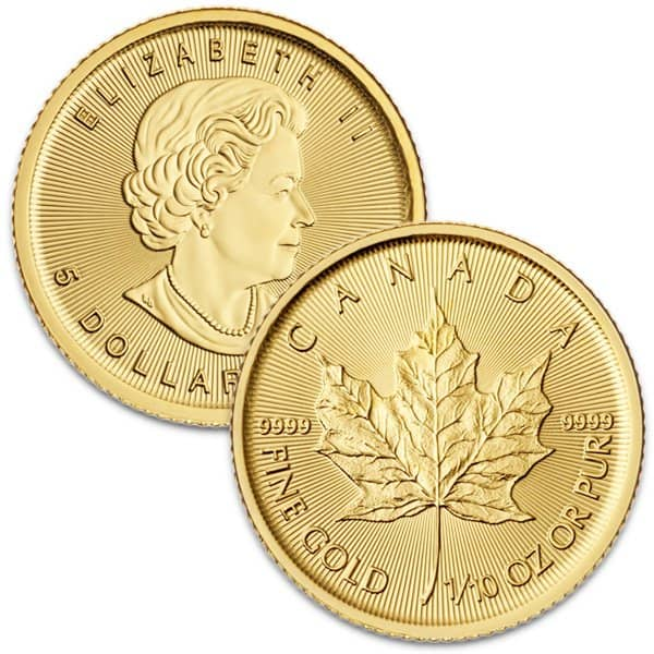 1/10 Oz Canadian Maple Leaf Gold Coins thumbnail