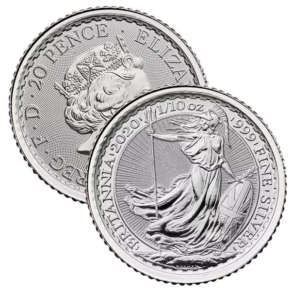 1/10 Troy Ounce British Britannia - .999 Pure Silver thumbnail