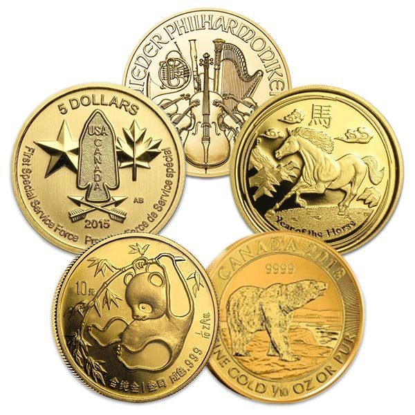 1/10 Oz Sovereign Coins - Various World Mints - .999+ Pure Gold