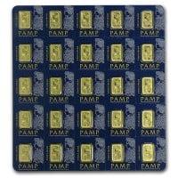 PAMP Multigram+25 Gold Bars - Qty 25 1g Bars